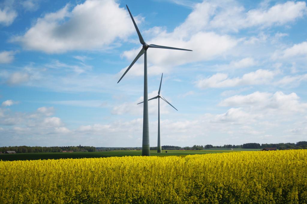 Bilden visar vindkraftverk