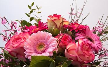 Blombukett med rosa blommor av olika sorter samt grönda blad.