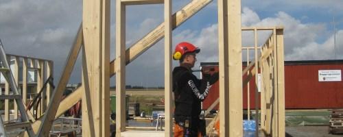 Bilden visar en snickare som bygger ett hus