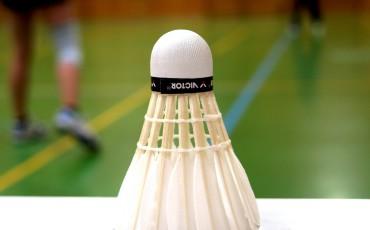I förgrunden en badmintonboll,på en vit yta, i bakgrunden delar av en badmintonplan