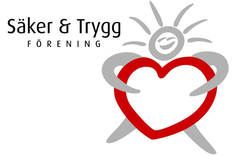 Logotype för Säker och Trygg förening. En grå streckgubbe som kramar ett rött hjärta.