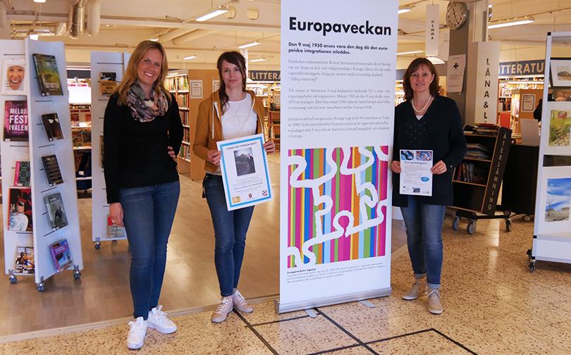 Europaveckan 2018 - Åsa Kåryd, verksamhetsutvecklare bildningsförvaltningen, Sannela Vestrin, kultursamordnare och Helena Torsell, internationell strateg.