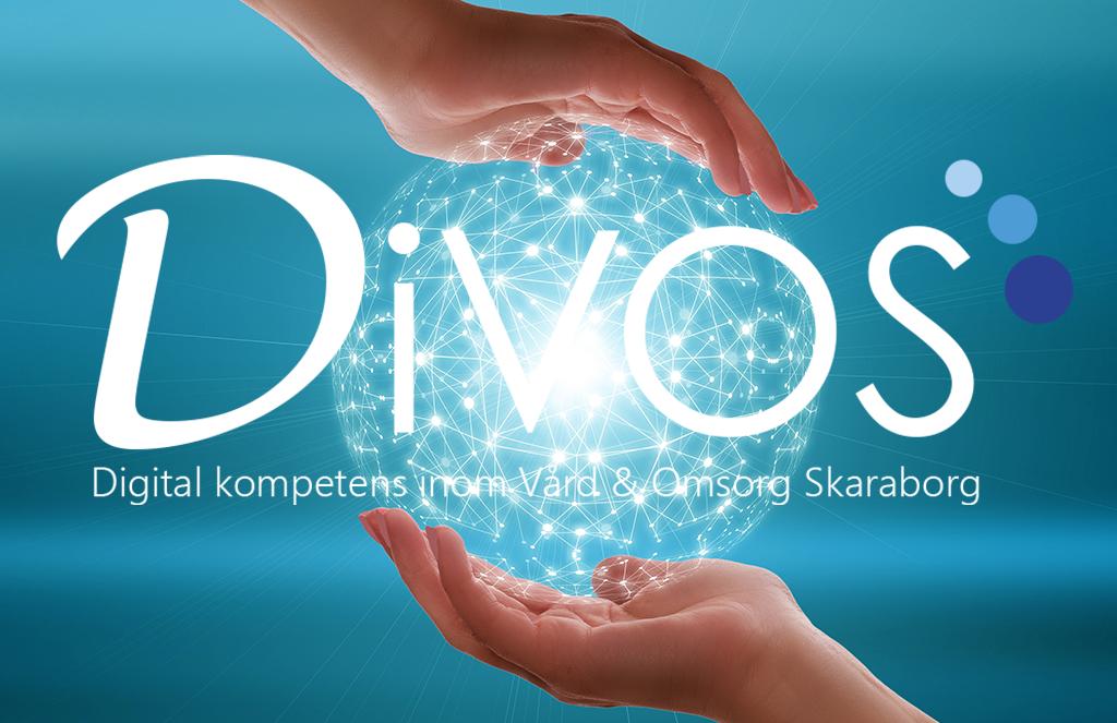 Logotype för Divos. Två händer som kupas runt en lysande klot.
