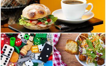 Kaffekopp, smörgås, sällskapsspel & en salladstallrik