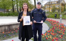 Gabriela Bosnjakovic, kommunstyrelsens ordförande och Johan Rexhag, lokalpolisområdeschef