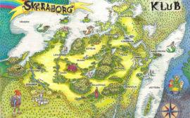 En illustrerad karta över Skaraborg utmärkt med sagoväsen och länkar till alla berättelser i KLUBserien.