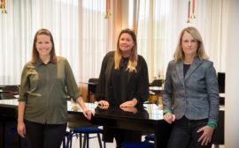 Gabriela Bosnjakovic, kommunstyrelsen ordförande, Malin Sjölin Lorentzson, Vara konserthus och Johanna Forslund Kullander, näringslivschef på Vara kommun.