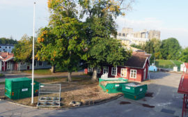 Bilden visar byggarbetsplats där förskolan byggs