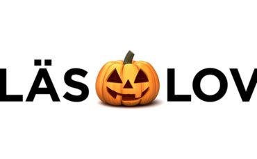 Läslovs logotype, ordet läslov med en glad pumpa mellan orden läs och lov