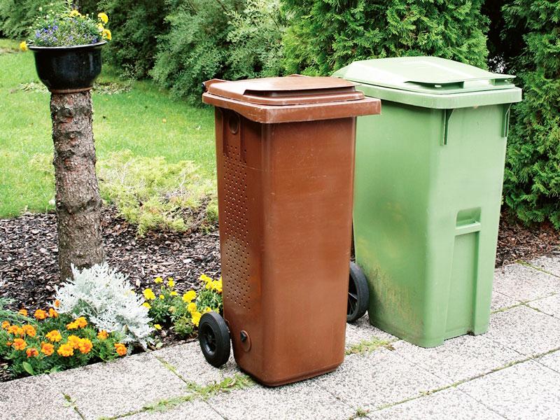 En brun och en grön soptunna står vid en rabatt.