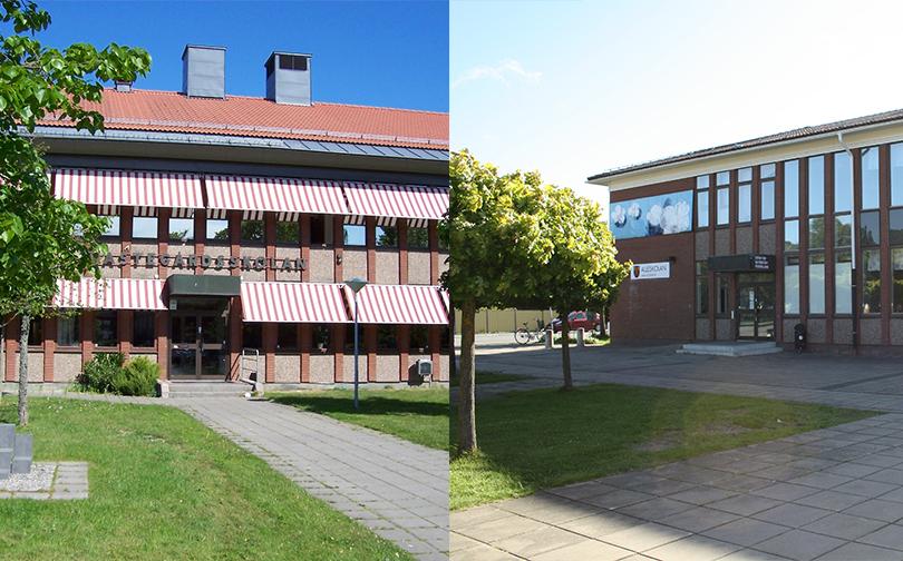 Nästegårdsskolans och Alléskolans huvudbyggnader.