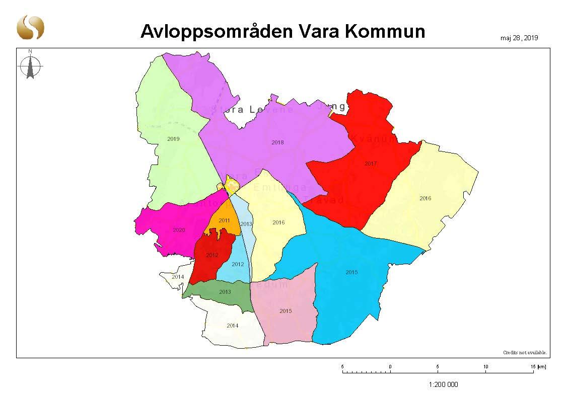 Kartbild över Vara indelat i zoner markerade med år.
