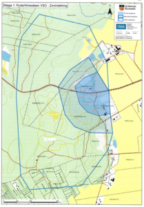 Bilden beskriver en kartbild över vattenskyddsområde i Almesåsen