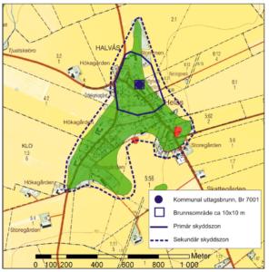 Bilden beskriver en kartbild över vattenskyddsområde i Helås