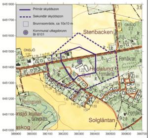 Bilden beskriver en kartbild över vattenskyddsområde i Larv