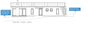Bilden beskriver en fasadritning