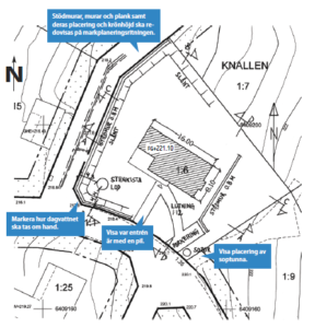 Bilden beskriver en markplaneringsritning
