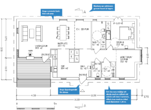 Bilden beskriver en måttsatt planritning indelat i olika rum