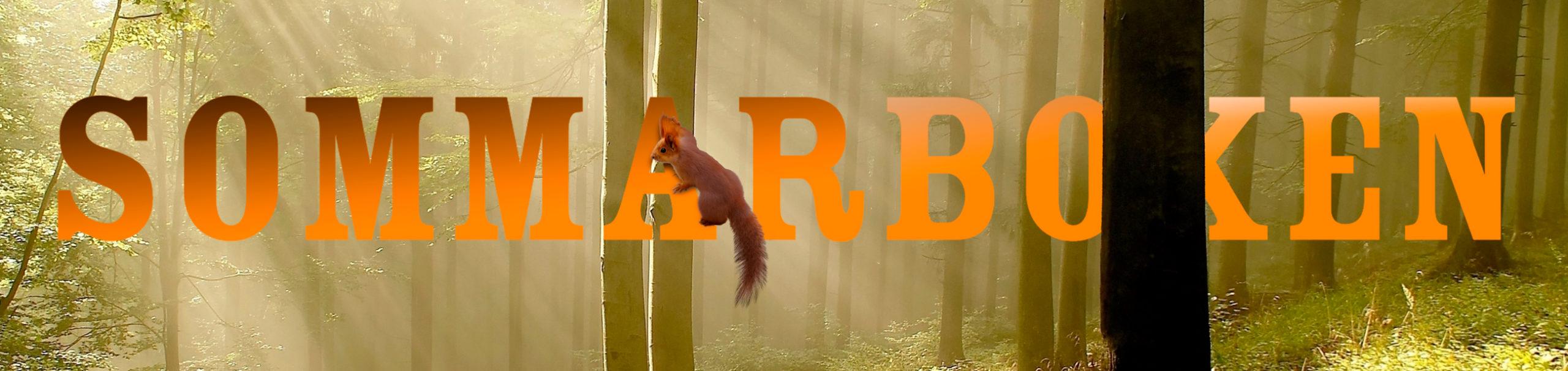 En ekorre i en skog med texten SOMMARBOKEN