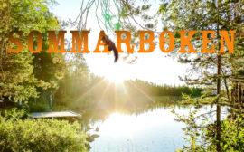 Bild på en sjö i en skog med texten Sommarboken