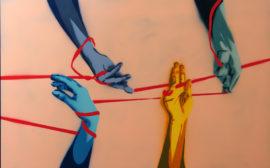 Bilden visar ett konstverk med händer-