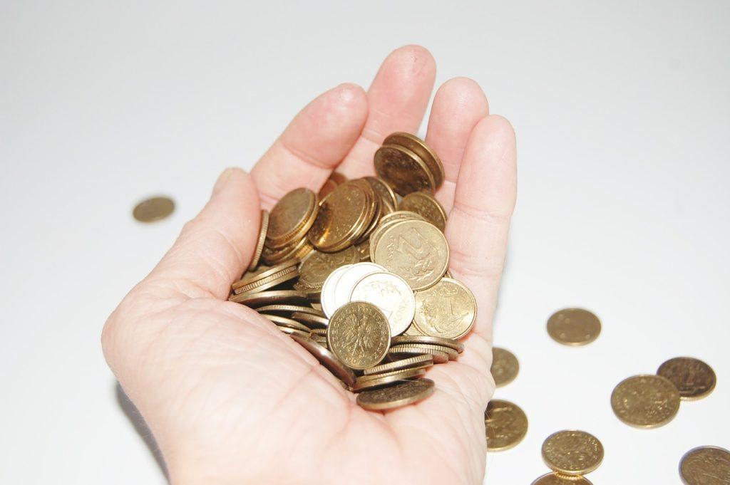 Bilden visar en hand full med pengar