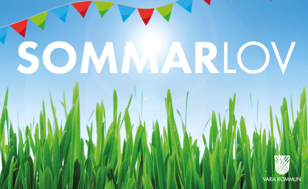 """Bild på gräs och klarblå himmel, med texten """"Sommarlov""""."""