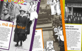 Affischer från utställningen ovanpå varandra