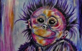 Målad bild av en apa i lila och rosa