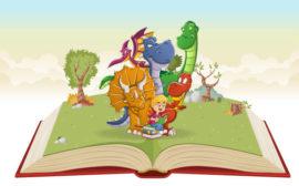 Illustrerad bild med drakar som kommer upp ur en bok