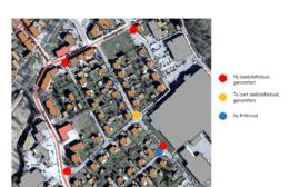 Kartbild över Kvänum med nya lastbils- samt parkeringsförbud utmarkerade på kartan.
