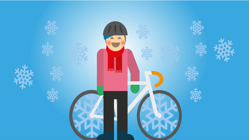 Illustration av en vintercyklist.