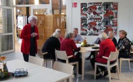 Åtta äldre personer sitter vid ett bord. En kvinna står upp.
